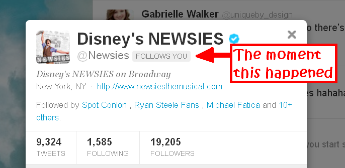 Newsies followed me on twitter!