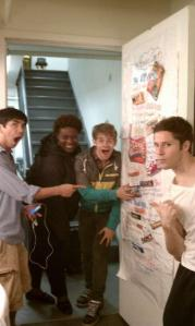 Aaron Albano, Capathia Jenkins, Andrew Keenan-Bolger, and Thayne Jasperson with the poster I sent them! (Image by Kara Lindsay)